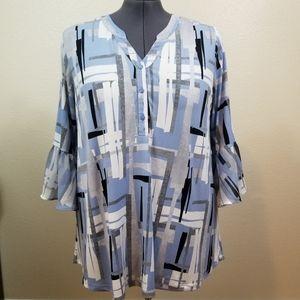 Alfani Woman Blue White Black Tunic Top Size 2X